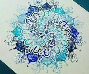 blue, mandala, and art image