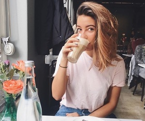 brunette, cafe, and flowers image