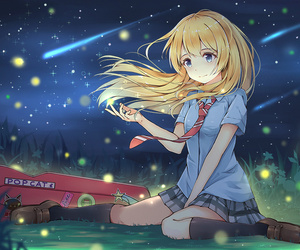 anime, fireflies, and blond hair image
