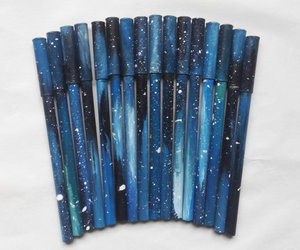 pen, galaxy, and blue image