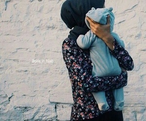 hijab, baby, and family image