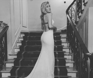 Ellie Goulding, dress, and black and white image