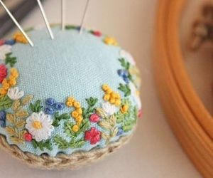 embroidery, flowers, and pastel image