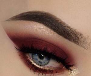 eyes, red eyeshadow, and brows image