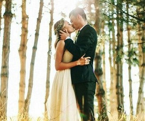 couple, forest, and wedding image