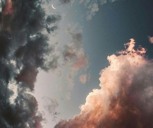 sky, clouds, and moon image