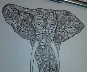 art, zentangle, and elephant image