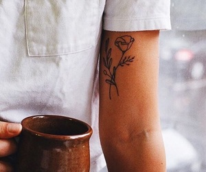 tattoo, coffee, and flowers image