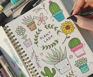 kawaii, plants, and notebook image
