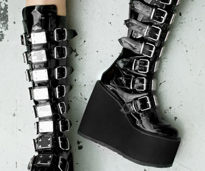 black boots, goth, and gothic image