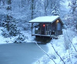 cabin, frozen, and house image