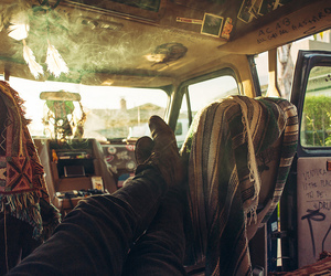hippie, car, and smoke image