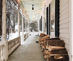 porch, winter, and house image