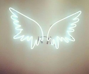 neon, neon signs, and wings image