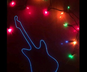 guitar, light, and neon image
