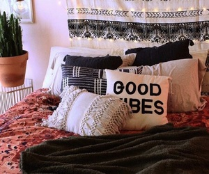 bed, room, and hippie image