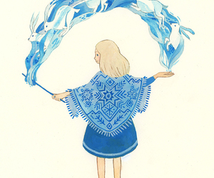 blue, girl, and magic image