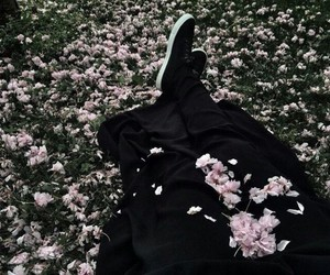 black, flowers, and girl image