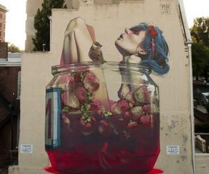 art, strawberry, and graffiti image