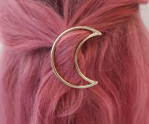 pink, hair, and moon image