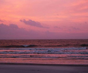 sunset, pink, and beach image