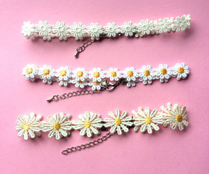 flowers, pink, and choker image