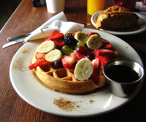 breakfast, fruit, and waffles image