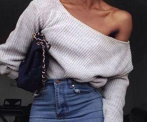 sweater, fashion, and skirt image