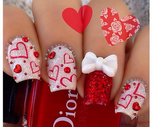red, nails, and heart image