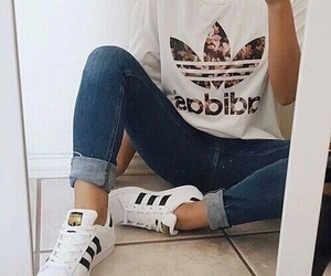 adidas, jeans, and clothes image