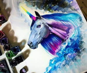 art, paint, and unicorn image