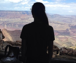 girl, grand canyon, and silhouette image
