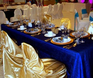 blue, gold, and party image