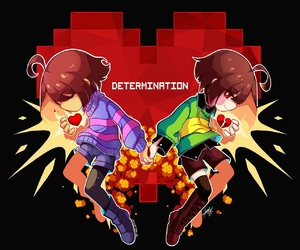 undertale, heart, and frisk image
