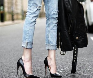 heels, fashion, and jeans image