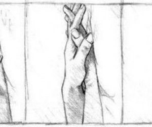 couple, drawing, and holding hands image