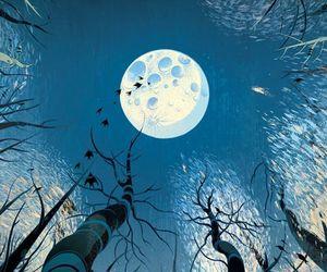 art, moon, and sky image