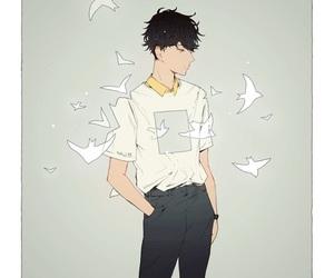 art, bird, and boy image