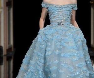 blue, blue dress, and catwalk image