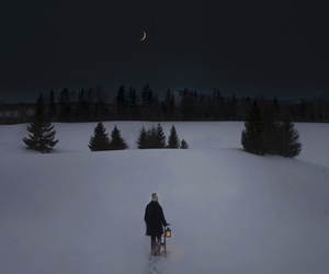 night, snow, and winter image