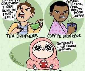 funny, tea, and coffee image