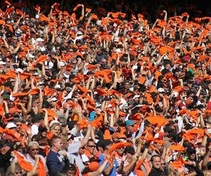 crowd, orange, and fans image