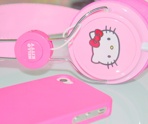 headphones, iphone, and pink image
