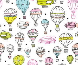 airship, hot air balloon, and background image