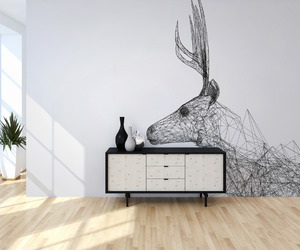 black and white, decorations, and deer image