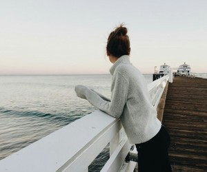bridge, sea, and girl image
