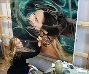 oil paint, women, and water image