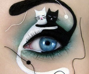 cat, makeup, and art image