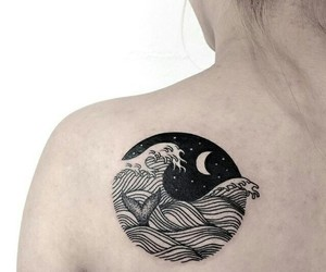 tattoo, moon, and night image
