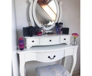 dressing table, make-up, and cute bedroom image